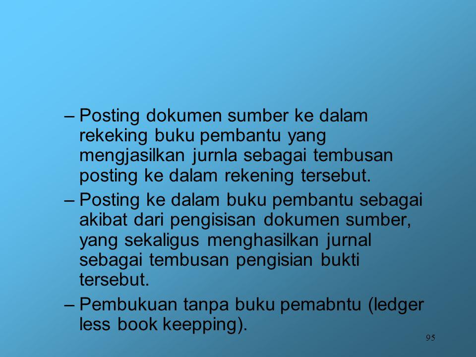 95 –Posting dokumen sumber ke dalam rekeking buku pembantu yang mengjasilkan jurnla sebagai tembusan posting ke dalam rekening tersebut. –Posting ke d