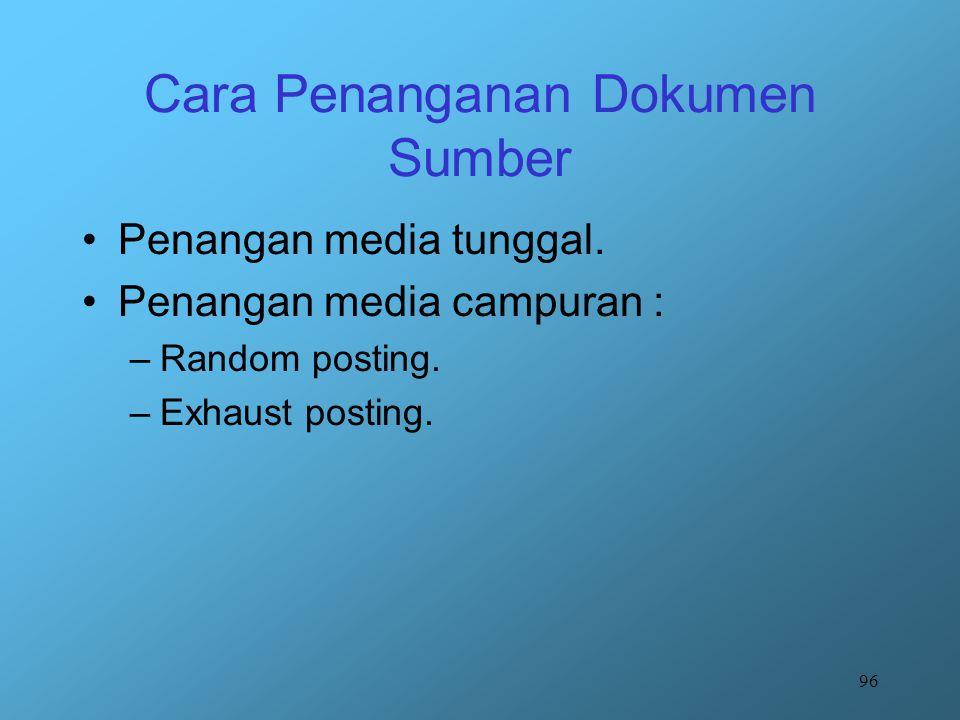 96 Cara Penanganan Dokumen Sumber Penangan media tunggal. Penangan media campuran : –Random posting. –Exhaust posting.
