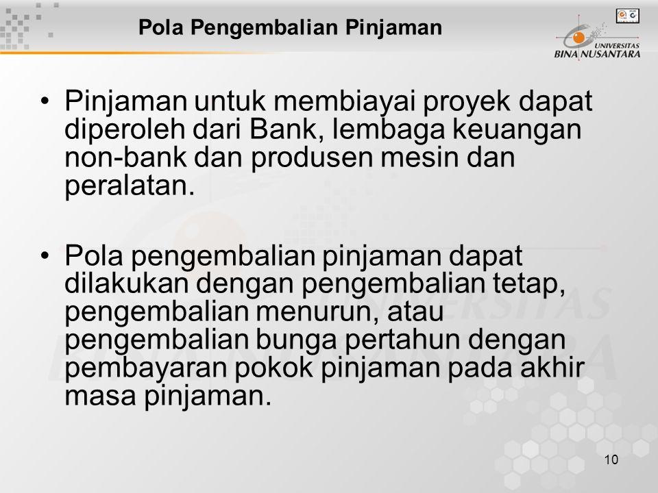 10 Pola Pengembalian Pinjaman Pinjaman untuk membiayai proyek dapat diperoleh dari Bank, lembaga keuangan non-bank dan produsen mesin dan peralatan.