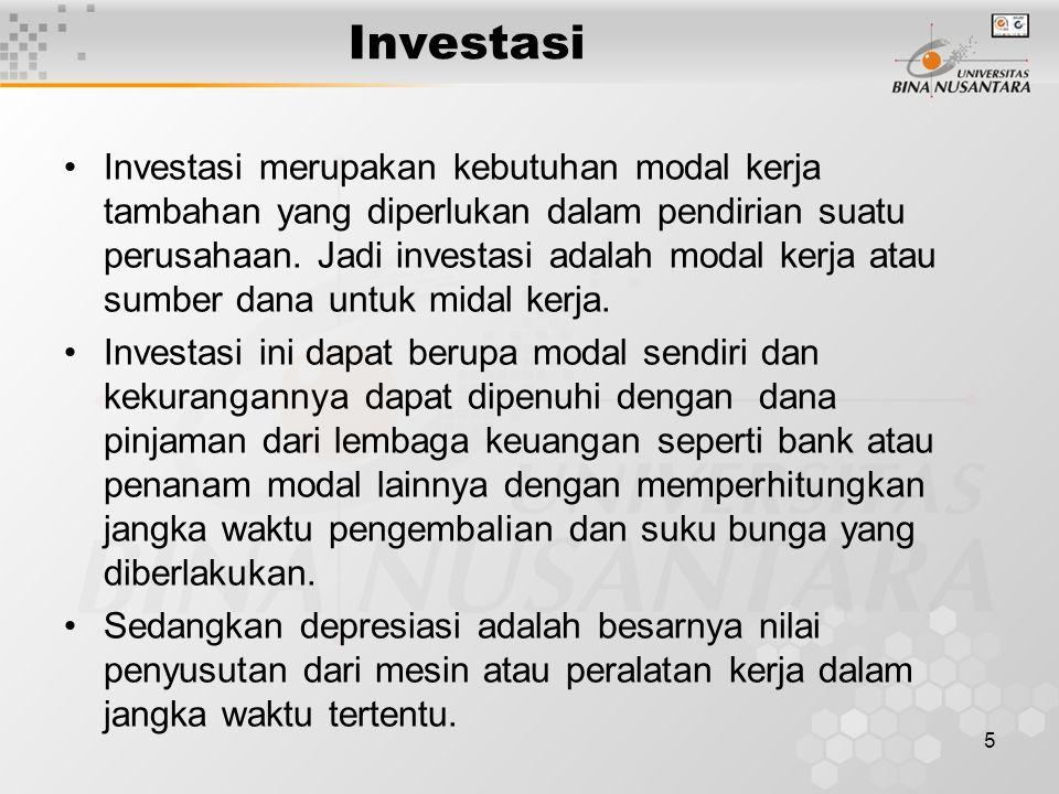 5 Investasi Investasi merupakan kebutuhan modal kerja tambahan yang diperlukan dalam pendirian suatu perusahaan. Jadi investasi adalah modal kerja ata