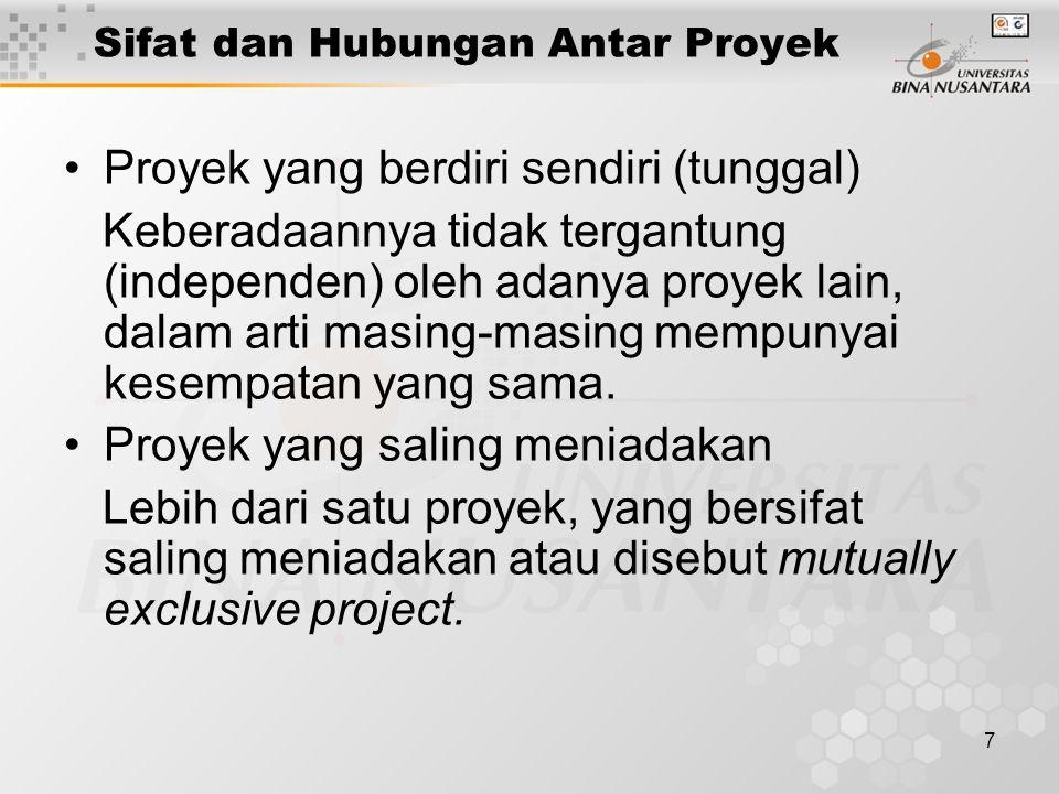 7 Sifat dan Hubungan Antar Proyek Proyek yang berdiri sendiri (tunggal) Keberadaannya tidak tergantung (independen) oleh adanya proyek lain, dalam arti masing-masing mempunyai kesempatan yang sama.