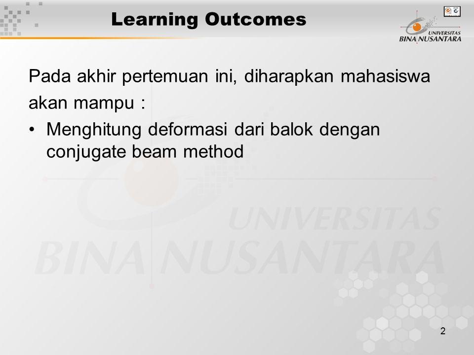 2 Learning Outcomes Pada akhir pertemuan ini, diharapkan mahasiswa akan mampu : Menghitung deformasi dari balok dengan conjugate beam method