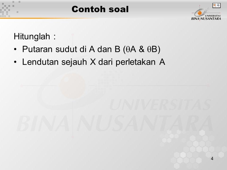 4 Contoh soal Hitunglah : Putaran sudut di A dan B (  A &  B) Lendutan sejauh X dari perletakan A