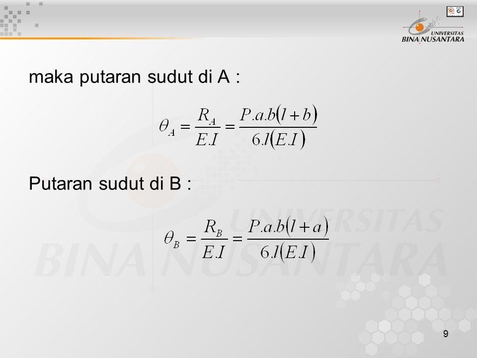 9 maka putaran sudut di A : Putaran sudut di B :