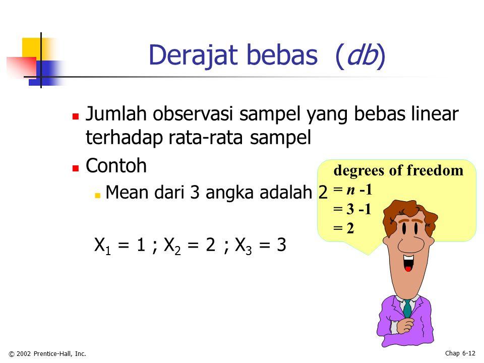 © 2002 Prentice-Hall, Inc. Chap 6-12 Derajat bebas (db) Jumlah observasi sampel yang bebas linear terhadap rata-rata sampel Contoh Mean dari 3 angka a