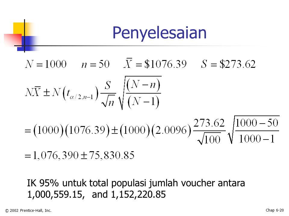 © 2002 Prentice-Hall, Inc. Chap 6-20 Penyelesaian IK 95% untuk total populasi jumlah voucher antara 1,000,559.15, and 1,152,220.85