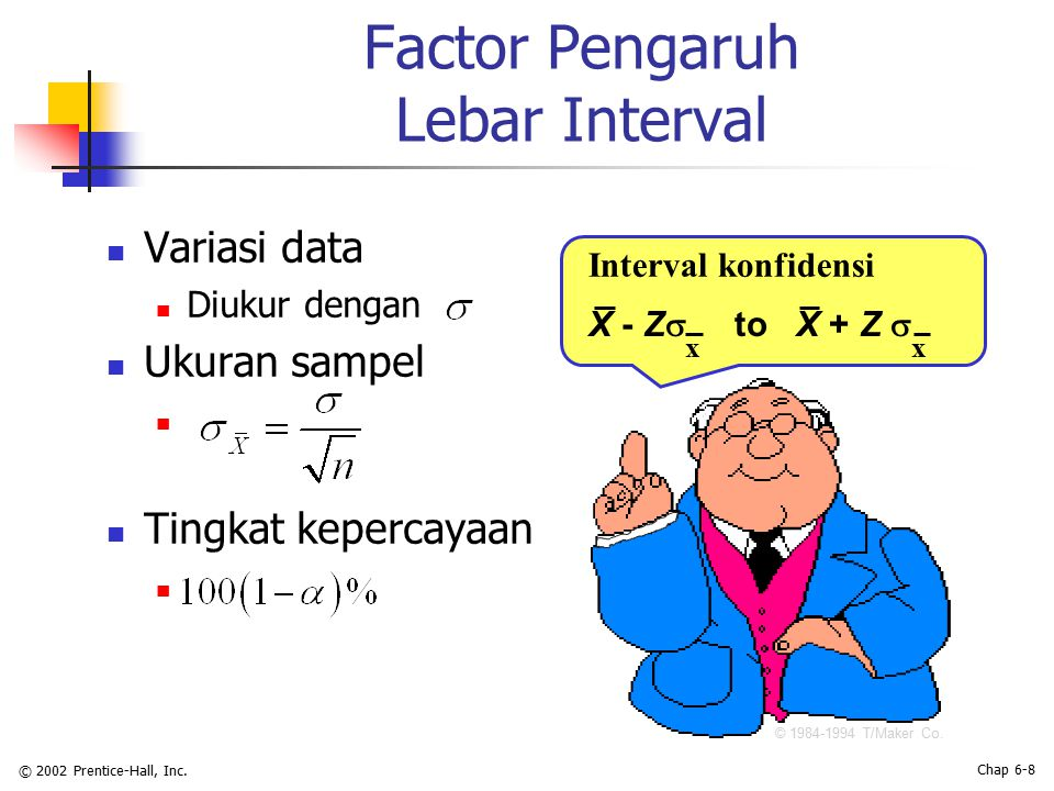 © 2002 Prentice-Hall, Inc. Chap 6-8 Factor Pengaruh Lebar Interval Variasi data Diukur dengan Ukuran sampel Tingkat kepercayaan Interval konfidensi ©