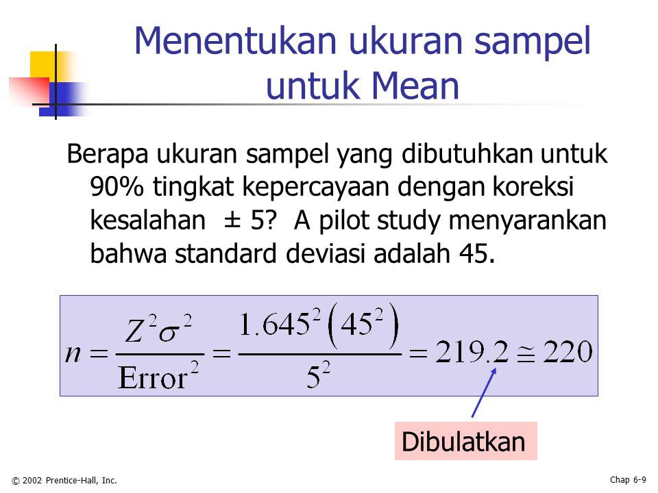 © 2002 Prentice-Hall, Inc. Chap 6-9 Menentukan ukuran sampel untuk Mean Dibulatkan Berapa ukuran sampel yang dibutuhkan untuk 90% tingkat kepercayaan