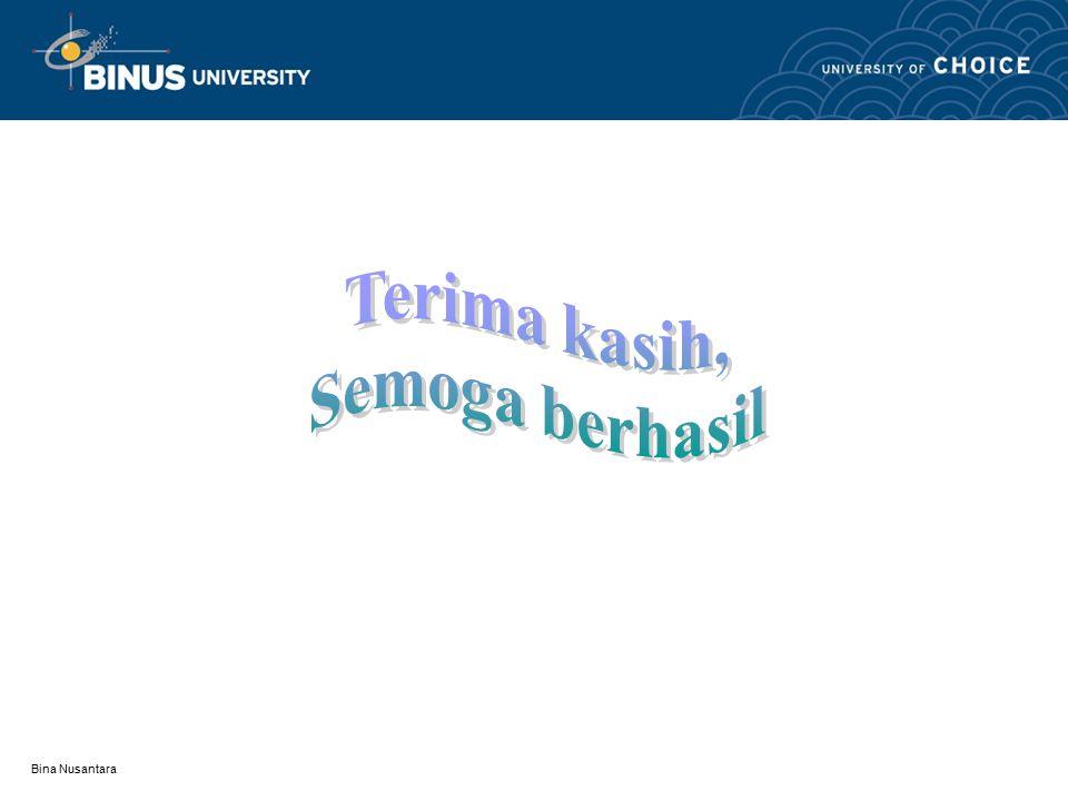 Bina Nusantara Daftar Acuan Disini dituliskan semua buku dll sebagai referensi/acuan atas tulisan yang telah dituliskan dalam makalah ini dan usahakan juga literatur dari hasil penelitian terdahulu atau dari jurnal dan internet untuk materi yang relevan.