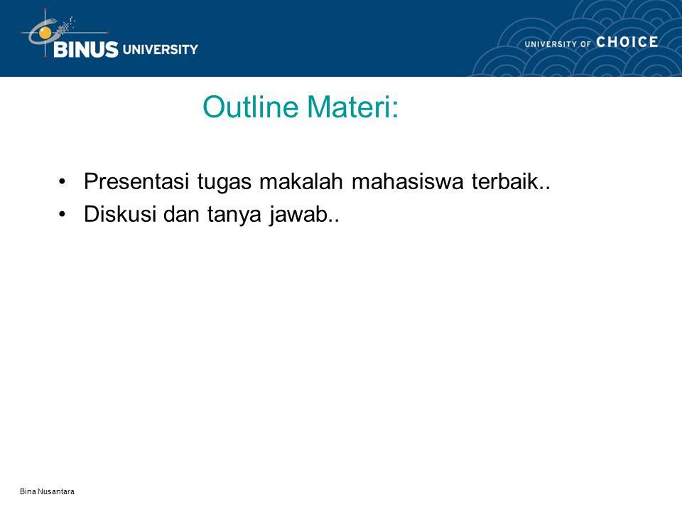 Bina Nusantara Learning Outcomes Mahasiswa dapat mendesain rangkuman satu teori yg telah dibahas di kuliah dan menulis aplikasinya di dalam sebuah makalah serta mampu mempresentasikan di depan kelas..