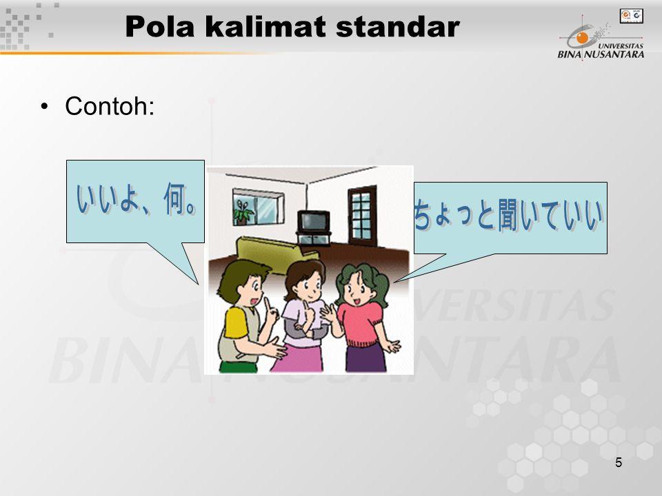 5 Pola kalimat standar Contoh: