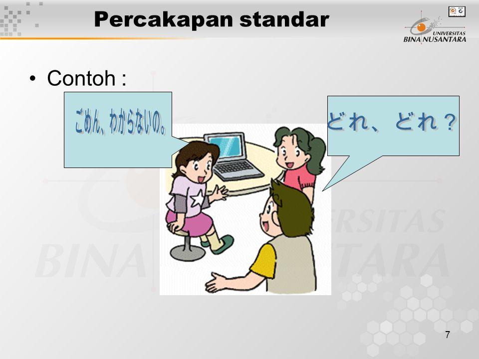 7 Percakapan standar Contoh :