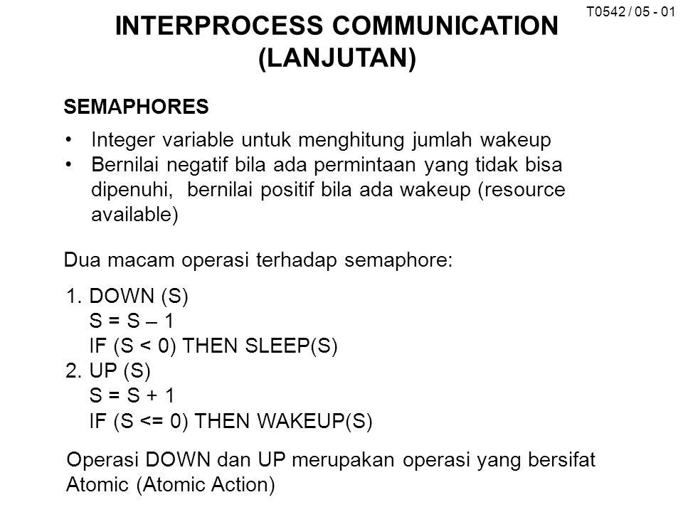 T0542 / 05 - 01 INTERPROCESS COMMUNICATION (LANJUTAN) SEMAPHORES Integer variable untuk menghitung jumlah wakeup Bernilai negatif bila ada permintaan yang tidak bisa dipenuhi, bernilai positif bila ada wakeup (resource available) Dua macam operasi terhadap semaphore: 1.