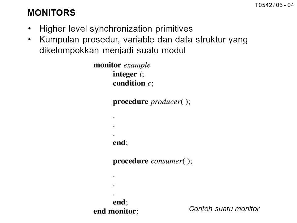 T0542 / 05 - 04 MONITORS Higher level synchronization primitives Kumpulan prosedur, variable dan data struktur yang dikelompokkan menjadi suatu modul Contoh suatu monitor