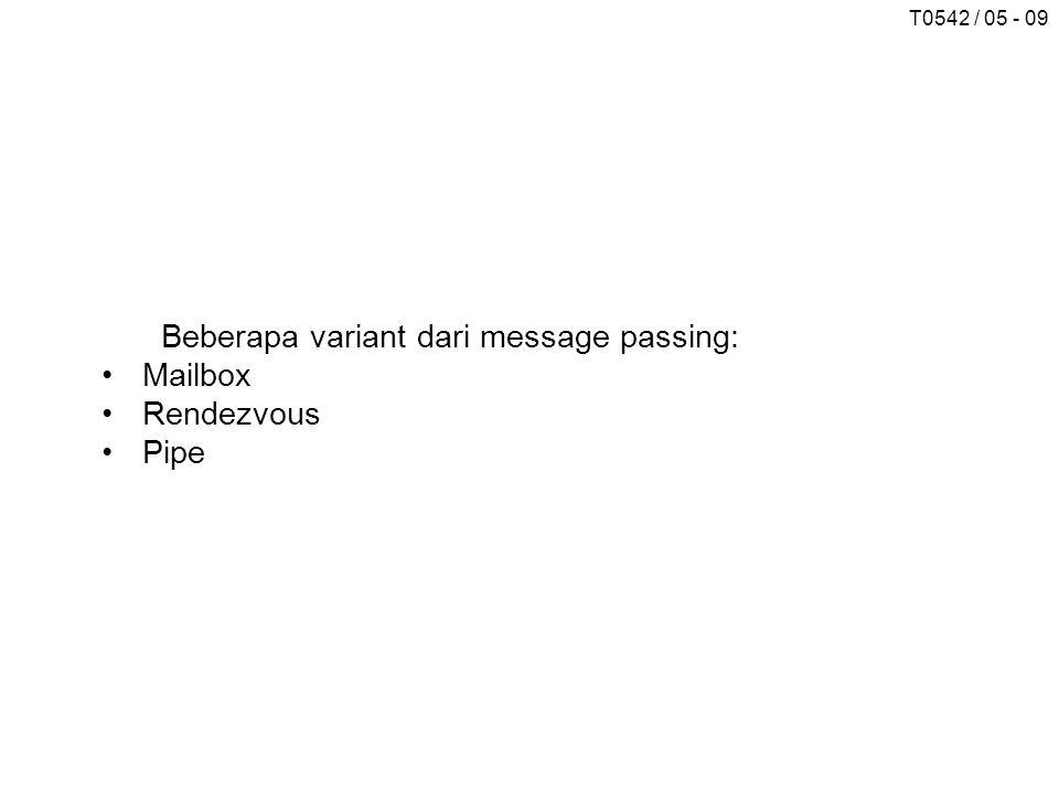 T0542 / 05 - 09 Beberapa variant dari message passing: Mailbox Rendezvous Pipe