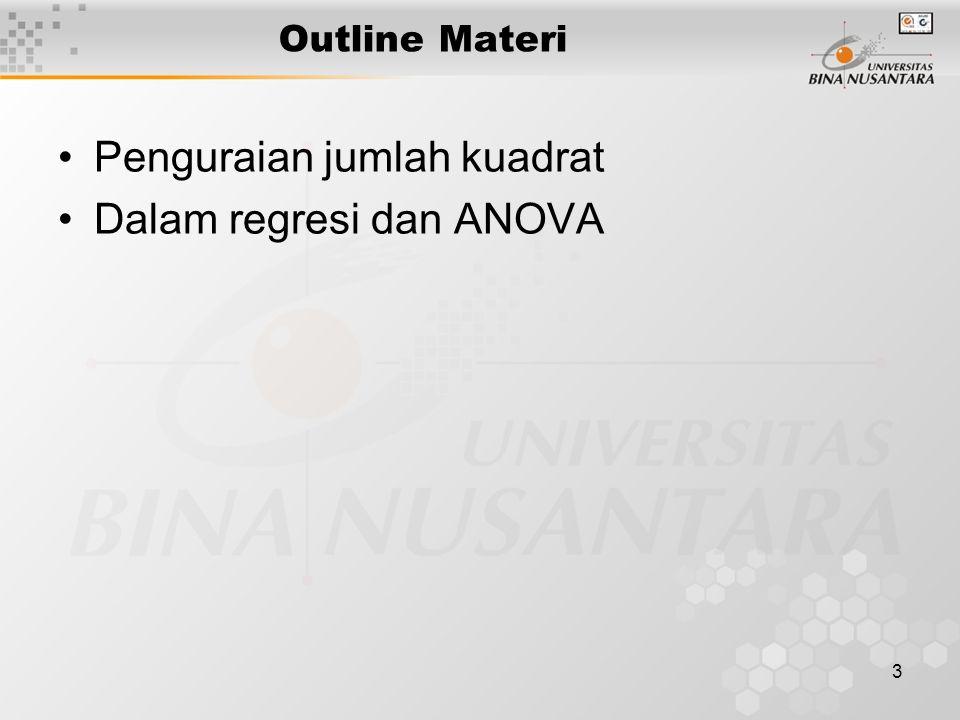 3 Outline Materi Penguraian jumlah kuadrat Dalam regresi dan ANOVA
