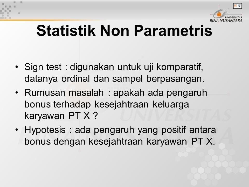 Sign test : digunakan untuk uji komparatif, datanya ordinal dan sampel berpasangan. Rumusan masalah : apakah ada pengaruh bonus terhadap kesejahtraan