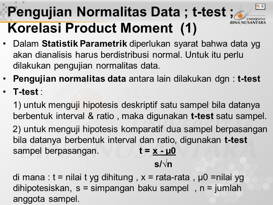 Pengujian Normalitas Data ; t-test ; Korelasi Product Moment (1) Dalam Statistik Parametrik diperlukan syarat bahwa data yg akan dianalisis harus berd