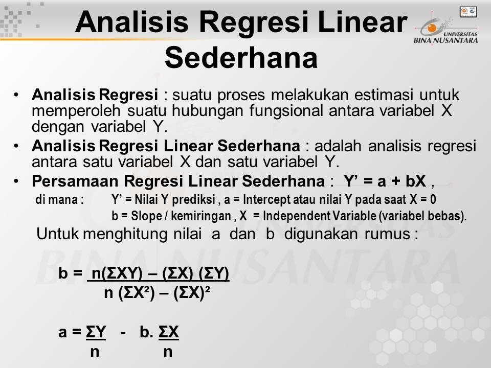 Analisis Regresi Linear Sederhana Analisis Regresi : suatu proses melakukan estimasi untuk memperoleh suatu hubungan fungsional antara variabel X deng