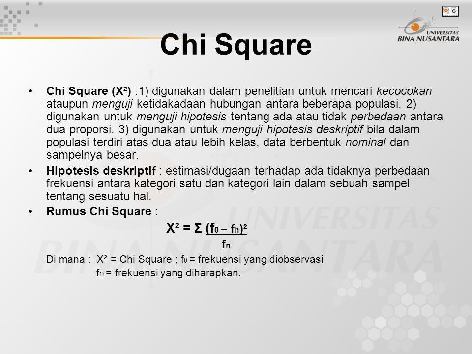 Chi Square Chi Square (X²) :1) digunakan dalam penelitian untuk mencari kecocokan ataupun menguji ketidakadaan hubungan antara beberapa populasi. 2) d