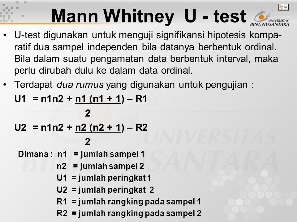 Mann Whitney U - test U-test digunakan untuk menguji signifikansi hipotesis kompa- ratif dua sampel independen bila datanya berbentuk ordinal. Bila da