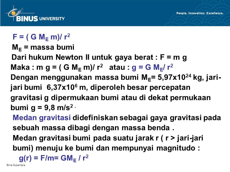 Bina Nusantara F = ( G M E m)/ r 2 M E = massa bumi Dari hukum Newton II untuk gaya berat : F = m g Maka : m g = ( G M E m)/ r 2 atau : g = G M E / r