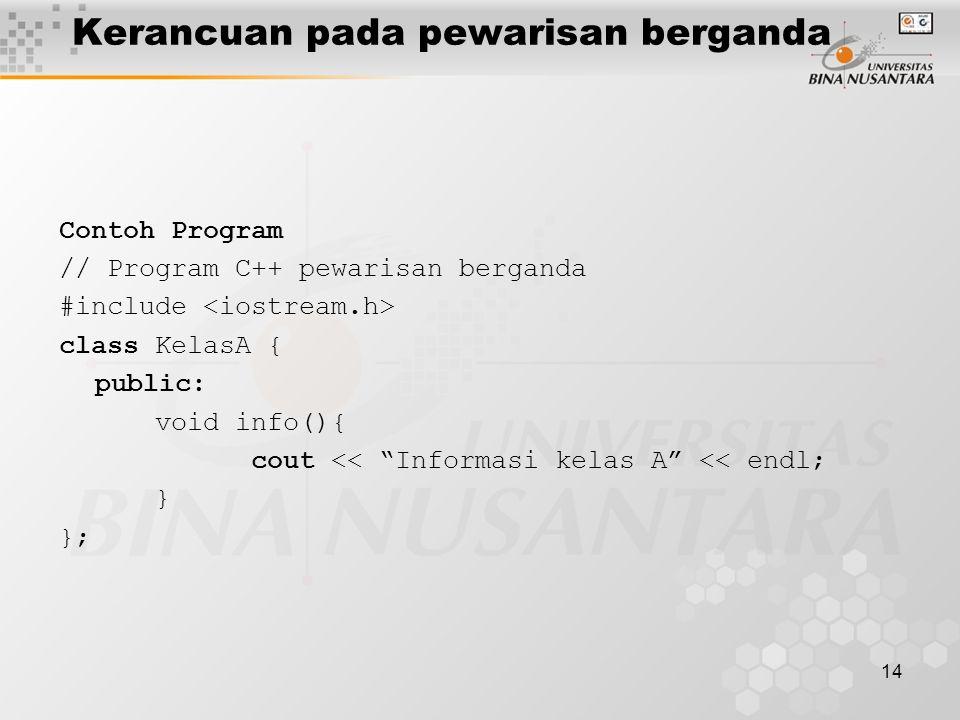 14 Contoh Program // Program C++ pewarisan berganda #include class KelasA { public: void info(){ cout << Informasi kelas A << endl; } }; Kerancuan pada pewarisan berganda
