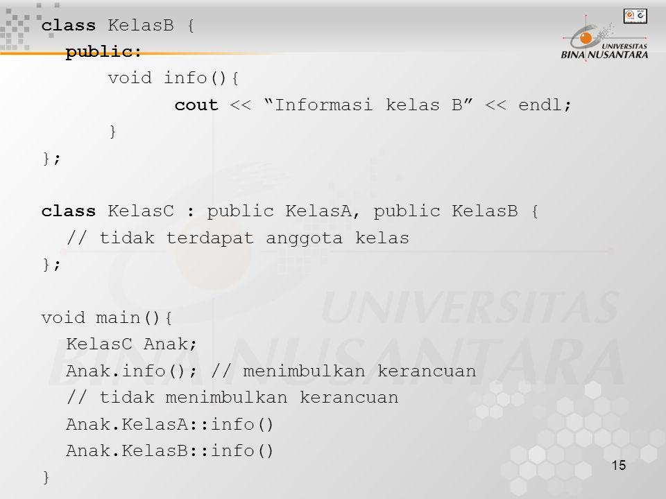 15 class KelasB { public: void info(){ cout << Informasi kelas B << endl; } }; class KelasC : public KelasA, public KelasB { // tidak terdapat anggota kelas }; void main(){ KelasC Anak; Anak.info(); // menimbulkan kerancuan // tidak menimbulkan kerancuan Anak.KelasA::info() Anak.KelasB::info() }