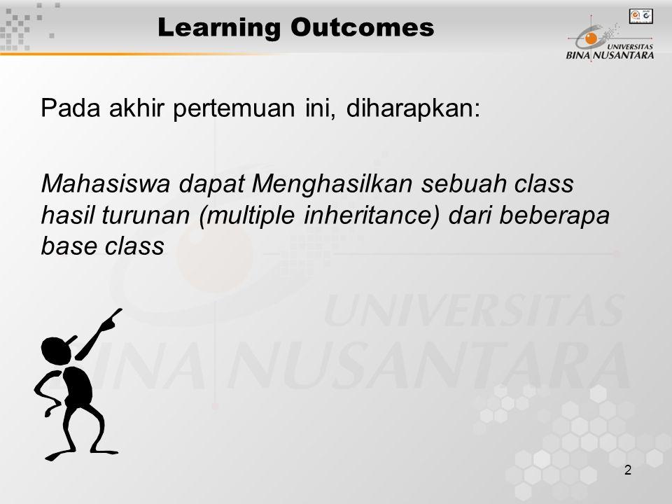 2 Learning Outcomes Pada akhir pertemuan ini, diharapkan: Mahasiswa dapat Menghasilkan sebuah class hasil turunan (multiple inheritance) dari beberapa base class