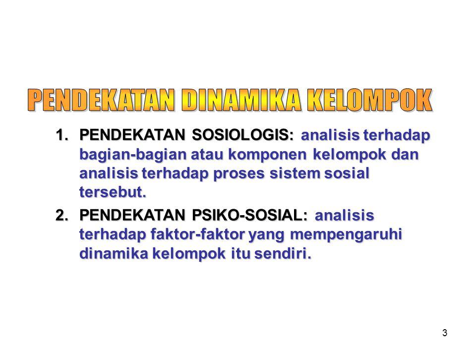 3 1.PENDEKATAN SOSIOLOGIS: analisis terhadap bagian-bagian atau komponen kelompok dan analisis terhadap proses sistem sosial tersebut.