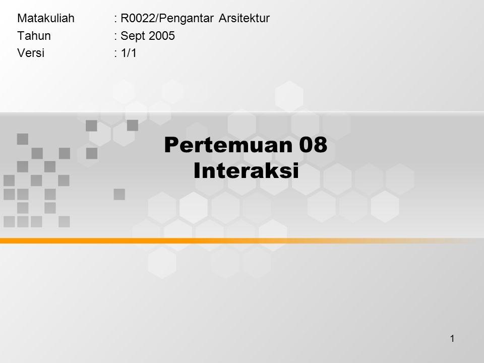 1 Pertemuan 08 Interaksi Matakuliah: R0022/Pengantar Arsitektur Tahun: Sept 2005 Versi: 1/1
