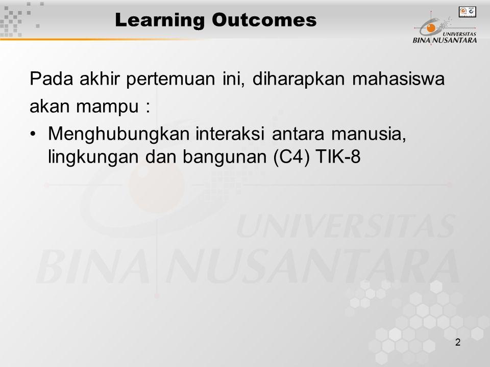 2 Learning Outcomes Pada akhir pertemuan ini, diharapkan mahasiswa akan mampu : Menghubungkan interaksi antara manusia, lingkungan dan bangunan (C4) TIK-8