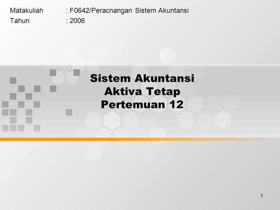 1 Sistem Akuntansi Aktiva Tetap Pertemuan 12 Matakuliah: F0642/Peracnangan Sistem Akuntansi Tahun: 2006