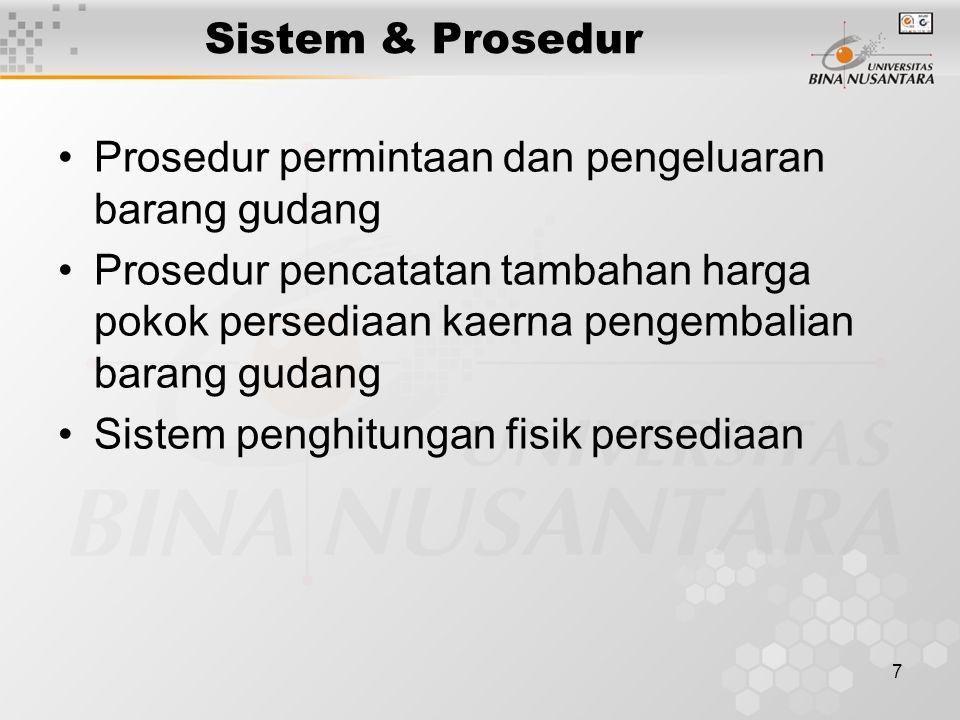7 Sistem & Prosedur Prosedur permintaan dan pengeluaran barang gudang Prosedur pencatatan tambahan harga pokok persediaan kaerna pengembalian barang gudang Sistem penghitungan fisik persediaan