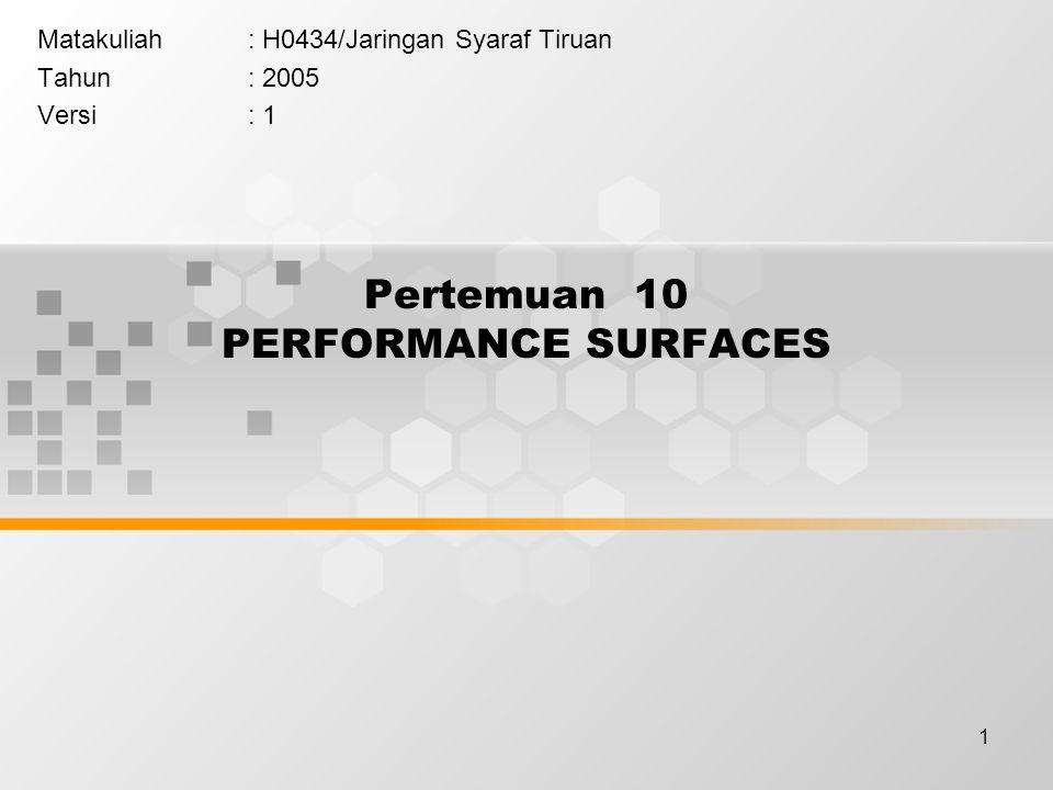 1 Pertemuan 10 PERFORMANCE SURFACES Matakuliah: H0434/Jaringan Syaraf Tiruan Tahun: 2005 Versi: 1