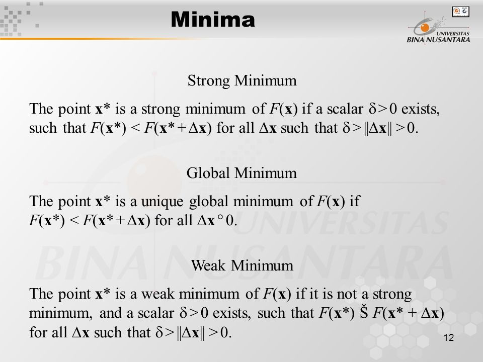 12 Minima The point x* is a strong minimum of F(x) if a scalar   >  0 exists, such that F(x*) ||  x|| > 0.