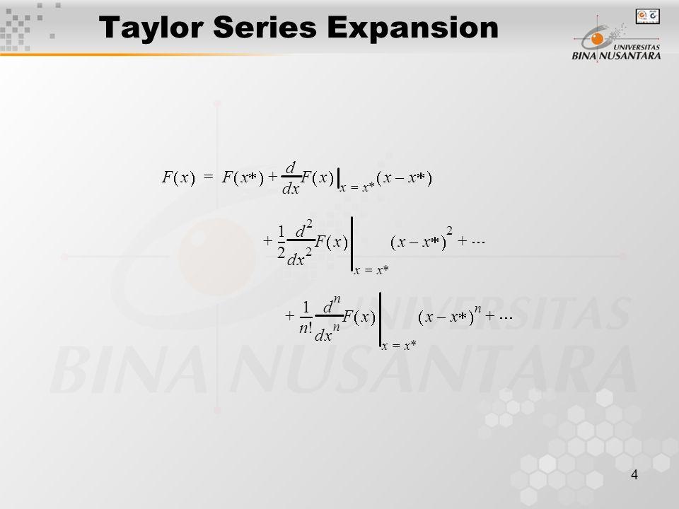 4 Taylor Series Expansion Fx  Fx   xd d Fx  xx  = xx  –  += 1 2 --- x 2 2 d d Fx  xx  = xx  –  2  ++ 1 n.
