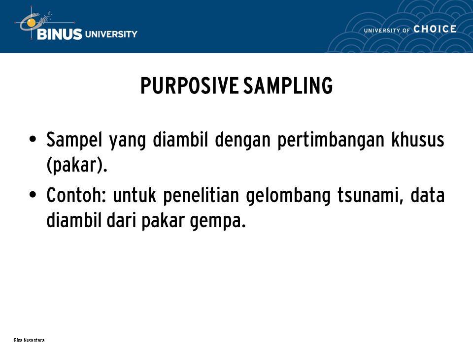 Bina Nusantara AKSIDENTAL SAMPLING Sampel yang diambil secara kebetulan oleh peneliti (waktu & tempat tidak direncanakan).