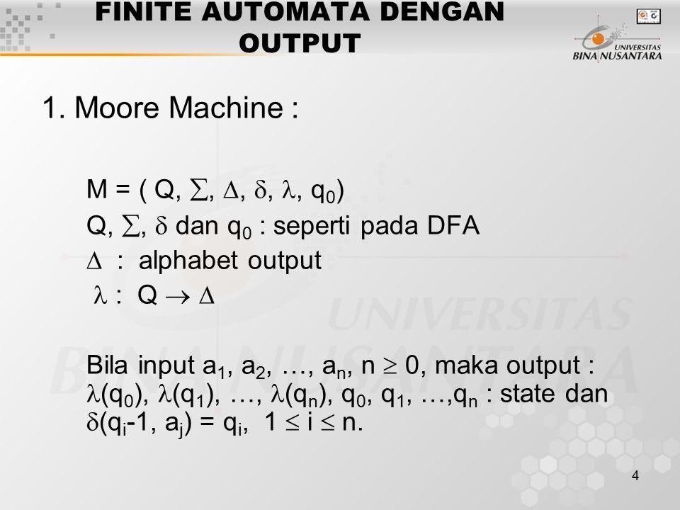 4 FINITE AUTOMATA DENGAN OUTPUT 1. Moore Machine : M = ( Q, , , ,, q 0 ) Q, ,  dan q 0 : seperti pada DFA  : alphabet output : Q   Bila input