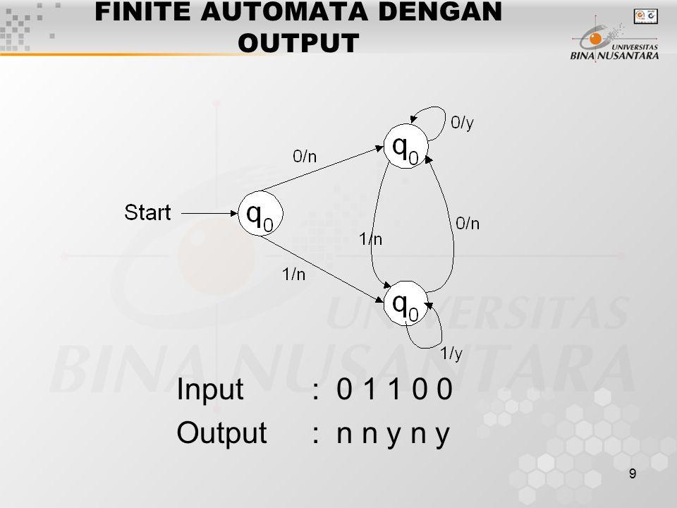 9 FINITE AUTOMATA DENGAN OUTPUT Input: 0 1 1 0 0 Output: n n y n y