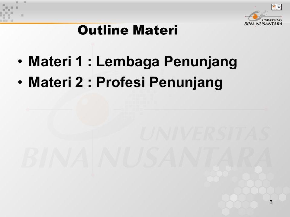 3 Outline Materi Materi 1 : Lembaga Penunjang Materi 2 : Profesi Penunjang