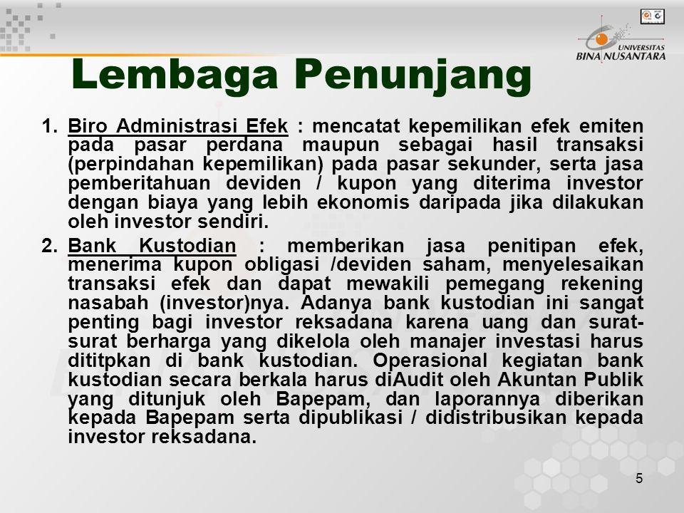 5 Lembaga Penunjang 1.Biro Administrasi Efek : mencatat kepemilikan efek emiten pada pasar perdana maupun sebagai hasil transaksi (perpindahan kepemil