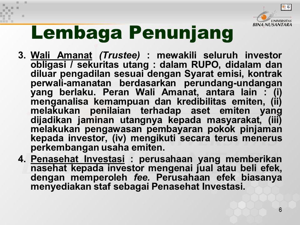 6 Lembaga Penunjang 3.Wali Amanat (Trustee) : mewakili seluruh investor obligasi / sekuritas utang : dalam RUPO, didalam dan diluar pengadilan sesuai