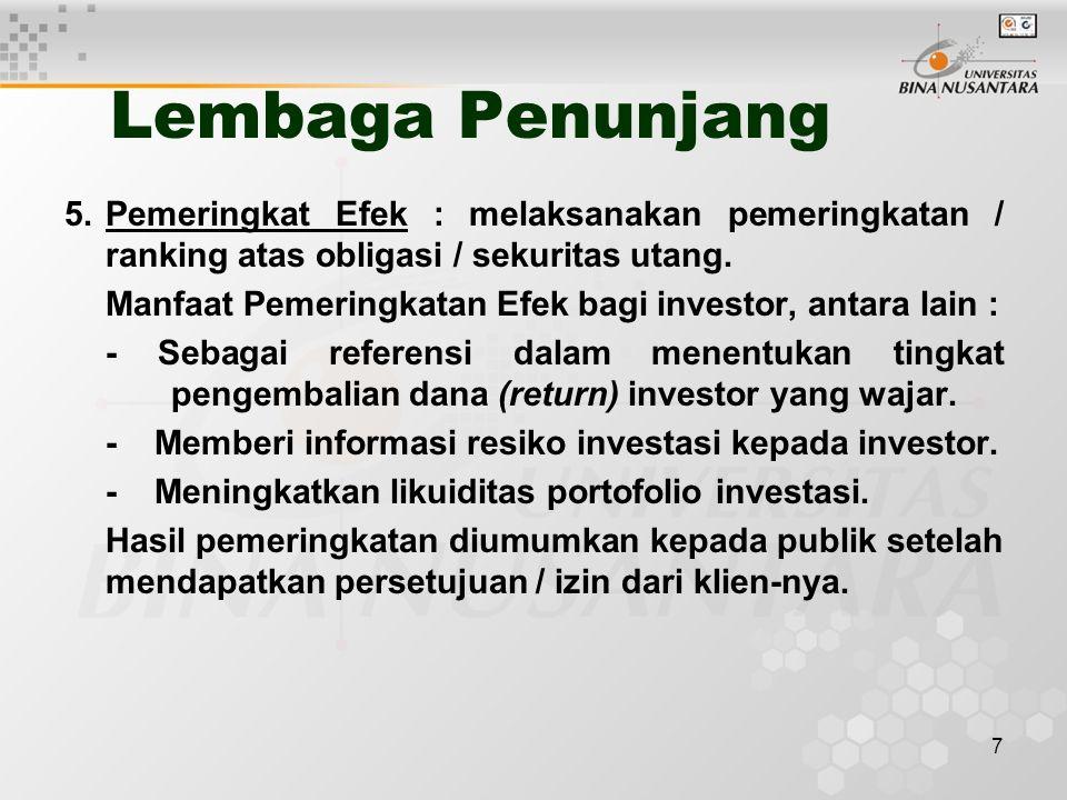 7 Lembaga Penunjang 5.Pemeringkat Efek : melaksanakan pemeringkatan / ranking atas obligasi / sekuritas utang. Manfaat Pemeringkatan Efek bagi investo