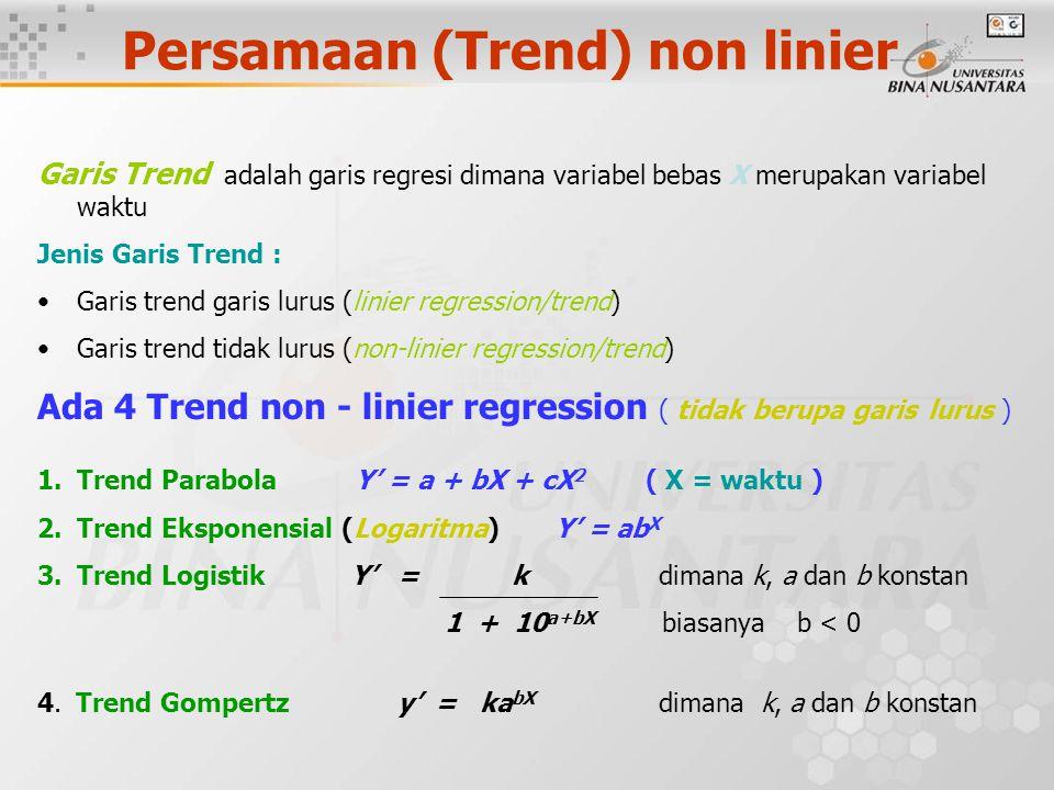 Persamaan (Trend) non linier Garis Trend adalah garis regresi dimana variabel bebas X merupakan variabel waktu Jenis Garis Trend : Garis trend garis lurus (linier regression/trend) Garis trend tidak lurus (non-linier regression/trend) Ada 4 Trend non - linier regression ( tidak berupa garis lurus ) 1.Trend Parabola Y' = a + bX + cX 2 ( X = waktu ) 2.Trend Eksponensial (Logaritma) Y' = ab X 3.Trend Logistik Y' = k dimana k, a dan b konstan 1 + 10 a+bX biasanya b < 0 4.