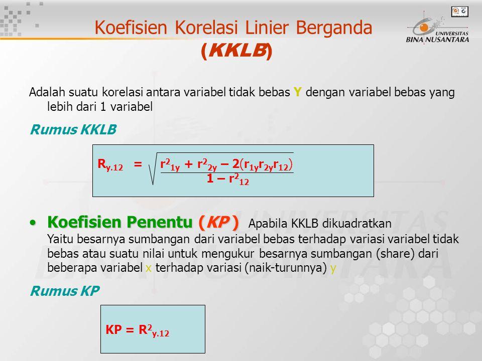 Koefisien Korelasi Linier Berganda (KKLB) Adalah suatu korelasi antara variabel tidak bebas Y dengan variabel bebas yang lebih dari 1 variabel Rumus KKLB Koefisien Penentu (KP )Koefisien Penentu (KP ) Apabila KKLB dikuadratkan Yaitu besarnya sumbangan dari variabel bebas terhadap variasi variabel tidak bebas atau suatu nilai untuk mengukur besarnya sumbangan (share) dari beberapa variabel x terhadap variasi (naik-turunnya) y Rumus KP R y.12 = r 2 1y + r 2 2y – 2(r 1y r 2y r 12 ) 1 – r 2 12 KP = R 2 y.12