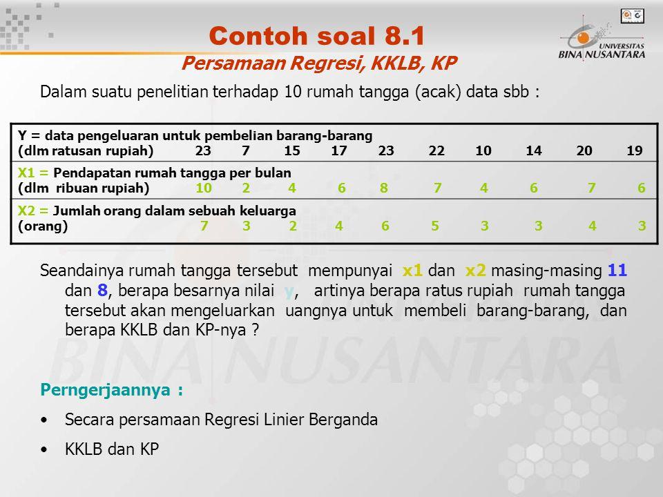 Contoh soal 8.1 Persamaan Regresi, KKLB, KP Dalam suatu penelitian terhadap 10 rumah tangga (acak) data sbb : Seandainya rumah tangga tersebut mempuny
