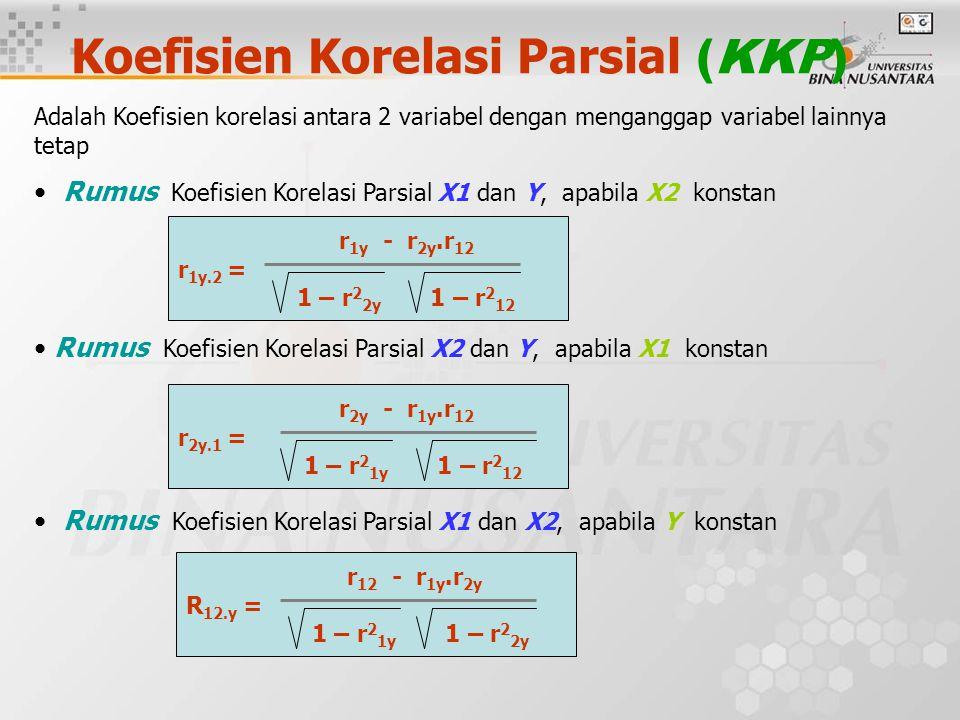 Koefisien Korelasi Parsial (KKP) Adalah Koefisien korelasi antara 2 variabel dengan menganggap variabel lainnya tetap Rumus Koefisien Korelasi Parsial X1 dan Y, apabila X2 konstan Rumus Koefisien Korelasi Parsial X2 dan Y, apabila X1 konstan Rumus Koefisien Korelasi Parsial X1 dan X2, apabila Y konstan r 1y - r 2y.r 12 r 1y.2 = 1 – r 2 2y 1 – r 2 12 r 2y - r 1y.r 12 r 2y.1 = 1 – r 2 1y 1 – r 2 12 r 12 - r 1y.r 2y R 12.y = 1 – r 2 1y 1 – r 2 2y