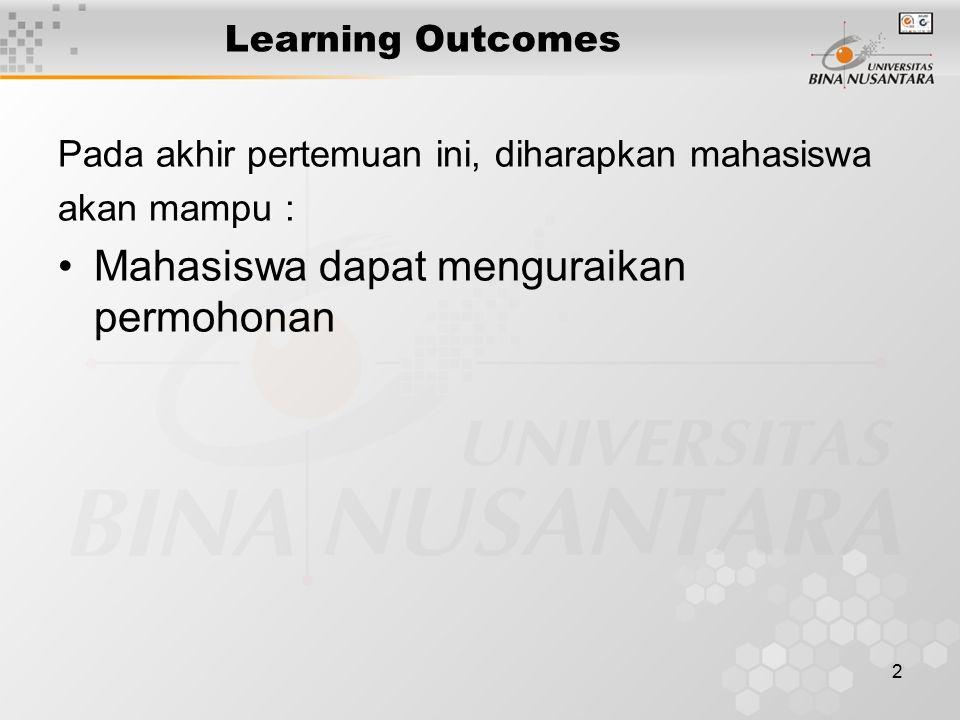 2 Learning Outcomes Pada akhir pertemuan ini, diharapkan mahasiswa akan mampu : Mahasiswa dapat menguraikan permohonan