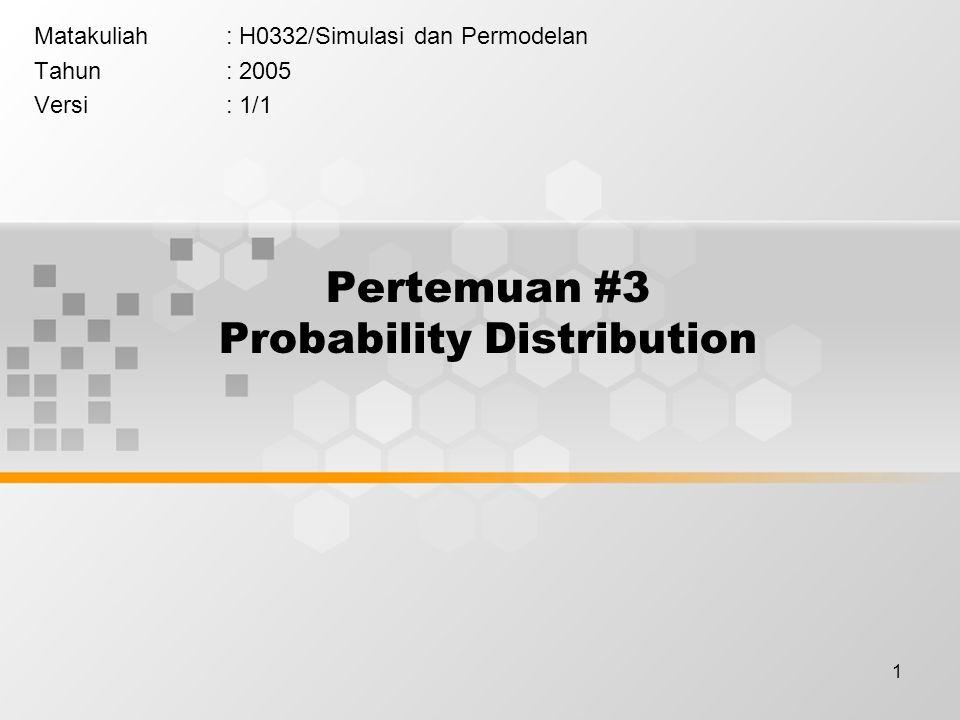 1 Pertemuan #3 Probability Distribution Matakuliah: H0332/Simulasi dan Permodelan Tahun: 2005 Versi: 1/1